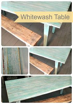 DIY Whitewash Table- easy tutorial for an AMAZING look! From Frugal Farmhouse Design on www. Furniture Projects, Furniture Makeover, Home Projects, Home Furniture, Distressed Furniture, Painted Furniture, White Wash Table, Whitewash Wood, Diy Holz