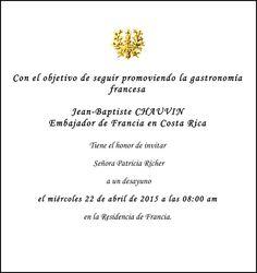 Invitation Monsieur L'Ambassadeur Jean Baptiste Chauvin