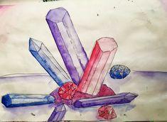 Crystal Watercolour Sketchbook Painting with black pen by NyxStudioArt Watercolor Sketchbook, Watercolour, 2d Art, Nyx, Gemstones, Crystals, Artwork, Silver, Painting