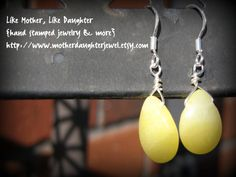 Beautiful Yellow Jade Drop Sterling Silver by MotherDaughterJewel, $10.00