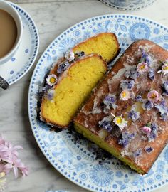 Lemon Drizzle Cake with Edible Flowers - Great British Chefs