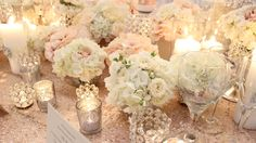 this has all your elements. I like hydrangea with accents of other flowers tucked in possibly for round tables