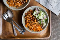 These vegetarian Asian-inspired chickpea bowls are loaded with sesame, ginger and peanut flavors!