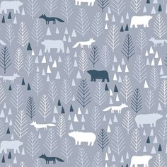 The Big Chill Dear Stella Fabric Winter Woods Icy Pines Forest Animals Trees Foxes Bears on Grey