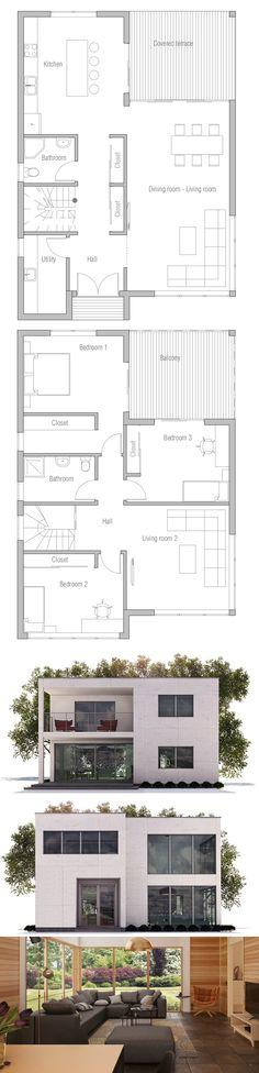 7 Modern House Plans Samples – Modern Home Small House Floor Plans, Dream House Plans, Modern House Plans, Architecture Plan, Residential Architecture, House Arch Design, Villa, House Map, House Blueprints