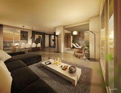 Een modern huis met vele warme contrasten zorgt voor een rust gevende look.