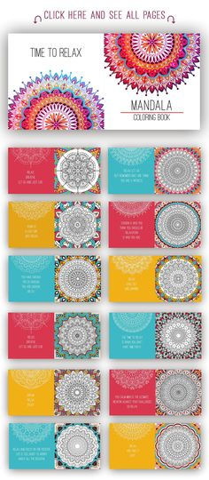 1371470 Mandala coloring book for adults. - Brochures - 1 Mandala coloring book for adults. - Brochures - 2 Mandala coloring book for adults. - Brochures - 3 Mandala coloring book for adults. - Brochures - 4 Mandala coloring book for adults. - Brochures - 5 Printable antistress coloring book for adults - mandala design, activity to older children and relax adult. Time to relax. On the cover you can have your logo or any other image