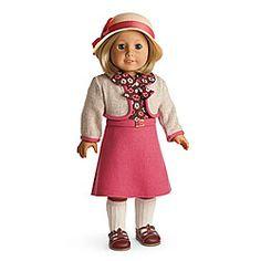 American Girl® Dolls: Kit's School Skirt Set- blouse, sweater jacket, skirt, knee socks t-strap shoes.