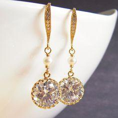 Cubic Zirconia Earrings Golden Earrings White Pearl Earrings Diamond Crystal Earrings Wedding Bridal Jewelry via Etsy