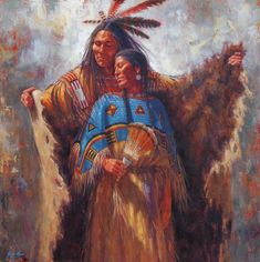 """Two Souls, One Spirit"" from the studio of James Ayers Painter of Historic American Indian Cultures"
