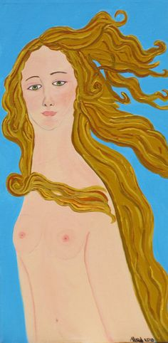 This one I painted when I returned home from my first visit to Italy.  I saw the original Boticelli in person.  The original by Boticelli has been my favorite all time painitng since I was a child.  I created my own version of Venus here.