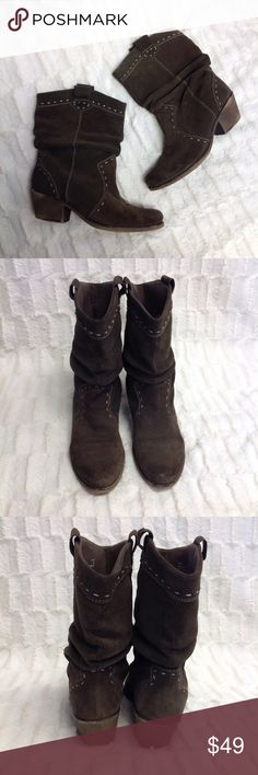 """CLARKS Boots Y15 😍😍These brown-gray color suede Clarks boots are accented with stitched trim and come up to about 8"""" on calf. The heel is 2"""" tall and is designed with a distressed style! ***Very gently loved, shows minor wear on toes and soles. The inner tab if right boot has slight split. Clarks Shoes Ankle Boots & Booties"""