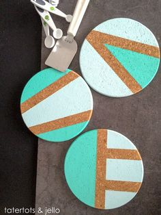 DIY Coasters - Best Quick DIY Gifts and Home Decor - Easy Step by Step Tutorials for DIY Coaster Projects - Mod Podge, Tile, Painted, Photo and Sewing Projects - Cool Christmas Presents for Him and Her - DIY Projects and Crafts by DIY Joy Cork Crafts, Diy And Crafts, Azulejos Diy, Coaster Design, Diy Presents, Christmas Presents, Easy Diy Gifts, Cork Coasters, Diy Décoration