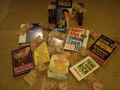 Making money made simple - Noel Whitaker, The richest man in Babylon,Cash manager, Cashflow quadrant; Guide to investing - Robert Kyosaki,Think and grow rich- George C.Clason,Anything down, questions are the answers - Alan Pease,Personal power - Anthony Robbins.photo copyright Frank Heath : free to use if liked or shared.