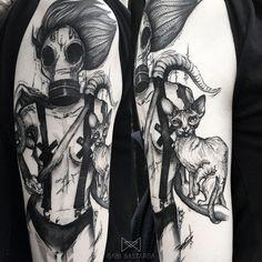 #tattoo #tattoos #tattooed #girltattoo #postpunk #postpunktattoo #graphictattoo #blackwork #blackworker #blackart #art #ink #inked  #cattattoo