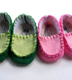 Color Blocked Baby Felt Shoes in Kelly Green and Mint Baby Boy Loafers. $24.50, via Etsy.