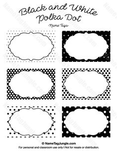Free printable black and white polka dot name tags. The template can also be used for creating items like labels and place cards. Download the PDF at http://nametagjungle.com/name-tag/black-and-white-polka-dot/