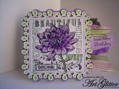 Made with Penny Black Stamps, Cricut Elegant Edges and Art Glitter