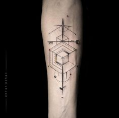 Asymmetrical Abstract Tattoo Design by Emrah Ozhan