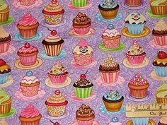 cupcake fabric by the yard   Sugar Rush Cupcakes Cookies Cup Cake Lavender Fabric 1 Yard   eBay