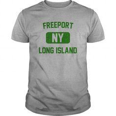 Cool Freeport Long Island NY Distressed Print Retro Phys Ed Green Print Shirts & Tees