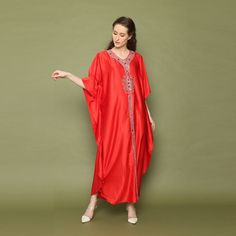 red Kaftan, Kaftan,Resort dress,Summer party dress, kaftan,womens home dress kaftans, Home dress, Vacation dress,Roomy dress etsy.com/shop/Yosika #loosedress #Bohodress #Moroccandress #kaftan #caftanforwomen #kaftanvintage #caftans #kaftans Resort Dresses, Vacation Dresses, Caftan Dress, Boho Dress, Embroidery Dress, Floral Embroidery, Moroccan Caftan, Under Dress, Satin Material