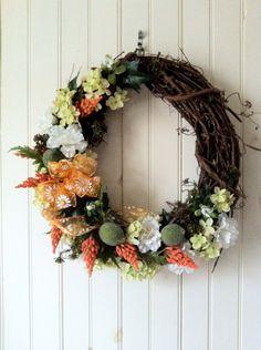 Summer Grapevine Wreath with Decorative limes & hydrangea.