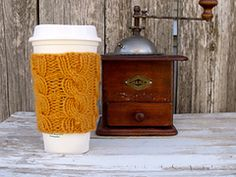 Ravelry: Cable Knit Coffee Cup Cozy pattern by Kirsten Sparks for Beatknits