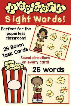 Need more activities for sight words? Be sure to check out this set of 26 Boom task cards for 26 popcorn words – those words that pop up all over the place! Perfect for kindergarten literacy centers, iPads, laptops, and whole group lessons with interacti Kindergarten Sight Words List, Learning Sight Words, Kindergarten Lesson Plans, Kindergarten Literacy, Literacy Centers, Beginning Reading, First Grade Reading, Popcorn Words, Concepts Of Print