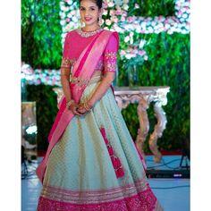 The Most Gorgeous South Indian Lehenga Saree Designs We Spotted! - The Most Gorgeous South Indian Lehenga Saree Designs We Spotted! Lehenga Saree Design, Half Saree Lehenga, Lehnga Dress, Sari, Indian Lehenga, Lehenga Designs, Saree Blouse Designs, Kids Lehenga, Dress Designs