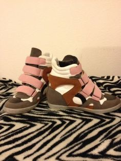 Sneaker wedges high top (pink,grey,white,brown) Sz 9