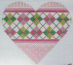 Mini heart - argyle pinks & greens
