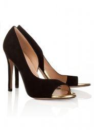 5414a103 Zapatos peep toe de tacón alto en ante negro y piel dorada Pura López  Zapatos Negros