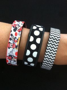 Elastic Bands for Fitbit Flex, Fitbit Charge or ChargeHR, Set/3:  Disney Inspired Couple(DY04), Lg B&W Dots (DO01),  Blk Mini Chevron (MC06) by BananaWindDesign on Etsy