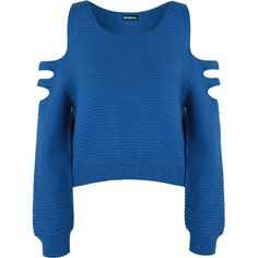 Aniya Knitted Off Shoulder Jumper (160 DKK) ❤ liked on Polyvore featuring tops, sweaters, shirts, royal blue, off the shoulder shirts, cropped sweater, cut out shoulder tops, off the shoulder crop top and blue crop top