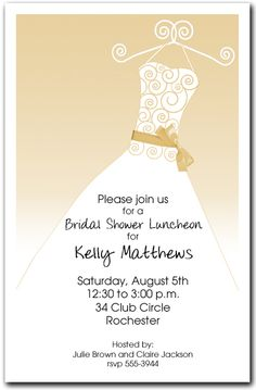 Champagne Ribboned Dress Party Invitations for bridal shower and more from TheInvitationShop.com