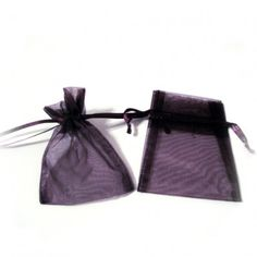"""Plum Organza Bags (Set of 10)   Nuptial Knick Knacks    Available is four popular sizes, our bags are made of high quality organza sheer, with a satin drawstrings. Our organza bags have a wide range of use for your bridal needs. They work great for bridesmaids' and guest gift packaging as well as candies and almonds. Choose from 4 different sizes:  3"""" x 4"""", 4"""" x 6"""", 5"""" x 7"""" and 6"""" x 10"""""""