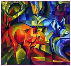 Red and Blue Piggies by Expressionist Artis Franz Marc Counted Cross Stitch or Counted Needlepoint Pattern