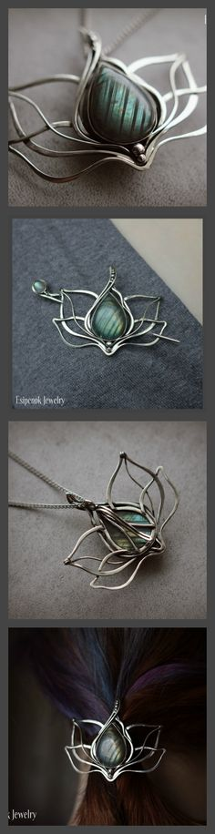 This #handmade nickel silver #wedding #bridal #Lotus #flower represents barrette-brooch-pendant-hair slide (hair clip). This nature-inspired wire wrap #jewelry is transformer and made with natural labradorite stone and 925 sterling #silver beads. Also it ideal Something blue :) You can wear it in three ways: as a brooch, as a hair slide, and as a pendant. The brooch pin is great for sweater, cardigan, scarf. Size of decorative parts: 6.2 x 5.1 cm. Labradorite size: 2.5 x 1.8 cm.