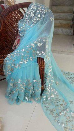 Pure Chiffon Gotapatti Saree   Indian Sari  Click VISIT link above to see more
