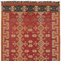 [Picked from SUNDANCE] Nila Kilim Rug: A handwoven kilim with a strikingly modern color combo that contrasts pale blue with shades of orange, ochre, ivory and brown. Made of wool and finished with hand-knotted fringe.