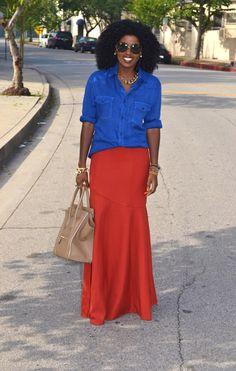 Love this silhouette. Maxi skirt & button down shirt via StylePantry