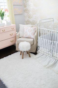 Shabby Chic Baby Girl Nursery Reveal light pink dresser gold and white wallpaper gold gray light pink and white nursery
