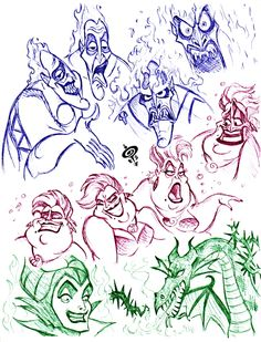 Hades, Ursula, and Maleficent sketches Walt Disney Characters, Film Disney, Disney Kunst, Disney Fan Art, Disney Villains, Disney Magic, Ursula Disney, Hades Disney, Disney Sketches