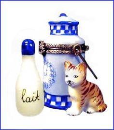 Limoges - Blue & White Milk Can w/ milk & kitty