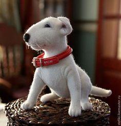 Animal toys, handmade.  Fair Masters - handmade.  Buy Bun puppy bull terrier.  Handmade.  White, felting toys