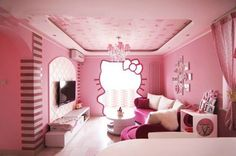 Now THAT is a Hello Kitty room! PINK ADDICTION