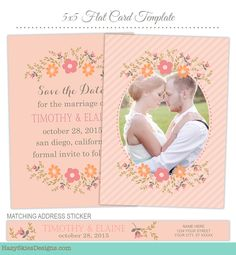 Save the Date Card Photoshop Template for Photographers  #save the date #template #photoshop #psd #photo #card #photographer #photography #templates #digital #couple #announcement