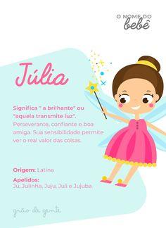 """Jujuba, Julinha, Ju, Juju... nome lindo e com tantas possibilidades de apelido! De origem latina, Julia significa """"a brilhante"""" ou """"aquela que transmite luz"""". Amamos! #julia #nomes #gravidez #maternidade Baby Room Art, Baby Room Decor, Baby Boom, Instagram Blog, Names With Meaning, Baby Girl Names, Baby Shark, Reveal Parties, Cute Art"""