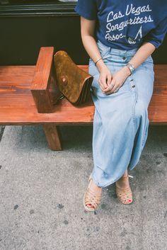 long denim skirt, slogan t shirt and strappy sandals